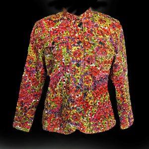 Chicos Colorful Circle Eyelet Boho Jacket Sz M (8)